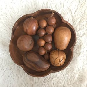 Vintage mid century modern carved wood fruit bowl